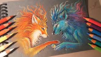 colorful drawing fox color pencil drawing by alvia alcedo 6