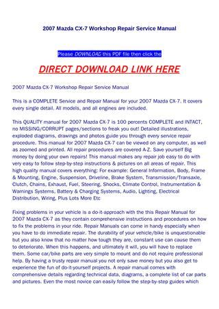 how to download repair manuals 2009 mazda cx 9 transmission control 2007 mazda cx 7 workshop repair service manual by yfg qualityservicemanual com issuu