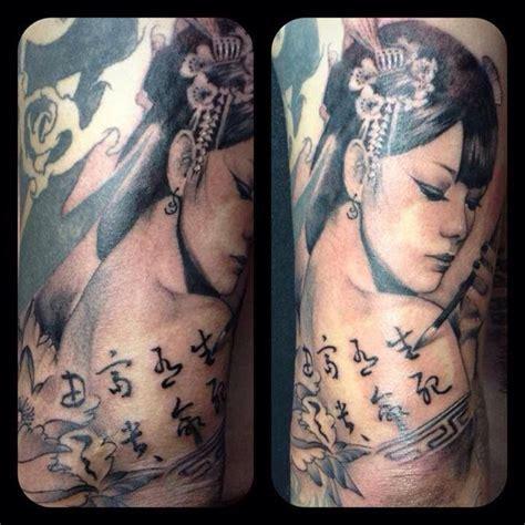 tattoo chinese geisha chinese geisha tattoo by monkeytoy geisha calligraphy