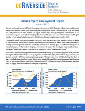Ie Mba Employment Report by August Employment Report For The Inland Empire