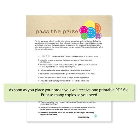 Pass The Prize Baby Shower by Print It Baby