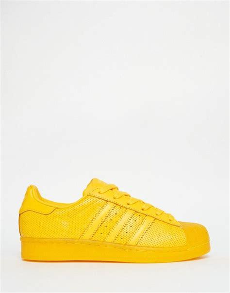 adidas originals superstar color yellow sneakers shoes yellow sneakers yellow