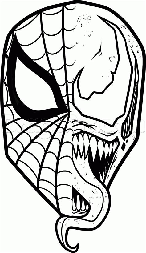 spiderman head coloring page how to draw spiderman and venom step 13 rajz pinterest