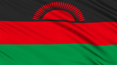malawi flag malawi flag with real structure of a fabric stock footage