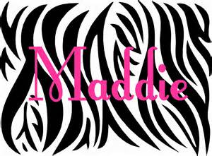 Zebra Print Wall Stickers Zebra Print With Custom Name Vinyl Wall Decal By Landbgraphics