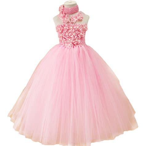 Handmade Tutu Flower Dresses - pink flower tutu dress for baby wholesale retail