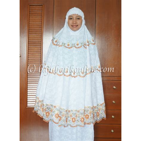 Mukena Bordir Soft Cotton white gold embroidery telekung baju batik