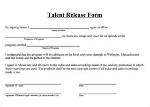 talent release form template talent release form 8 free sles exles formats