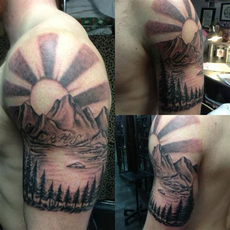 mountain scene tattoo black and grey mountain by fortier at