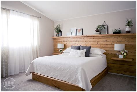 shiplap headboard wall with floating nightstand shelves