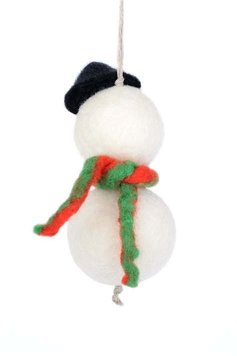 hanging christmas tree ornaments felted snowmen