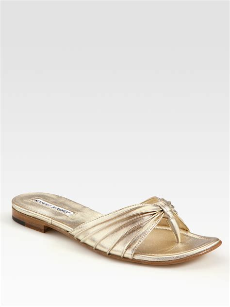 manolo blahnik sandals manolo blahnik metallic leather sandals in