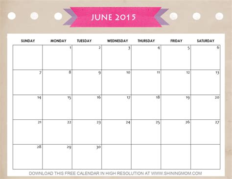 printable day planner june 2015 10 pretty calendars for june 2015