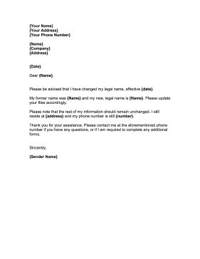 name change cover letter name change notification letter template