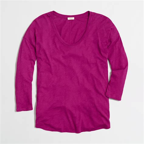 swing tee j crew factory longsleeve draped swing tee in pink dark