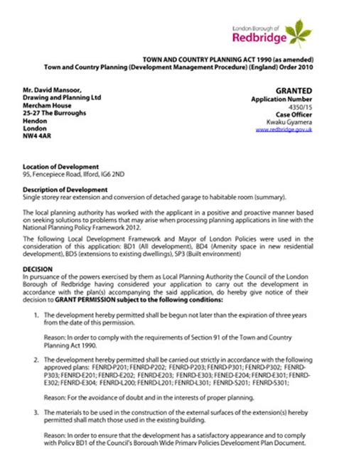 Permission Letter Of Fence planning permission granted at 95 fencepiece road