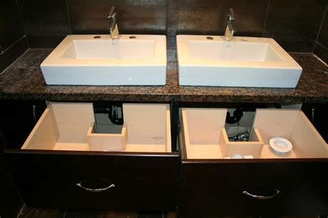cut vessel sink bathroom vanity with custom drawer box cut outs to