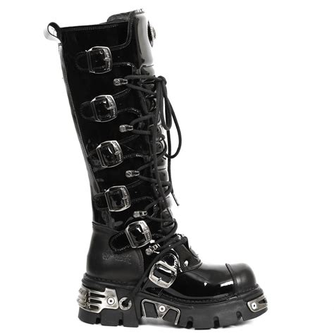 m 314 s6 black patent new rock knee high boots with