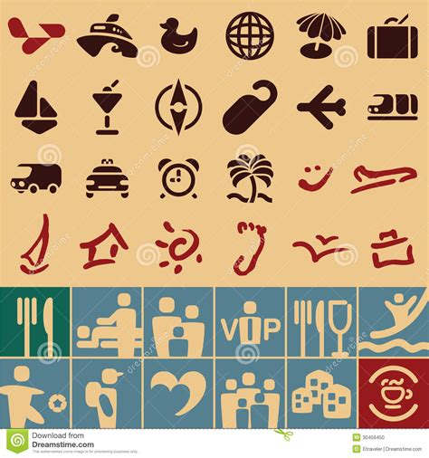 retro icons 20 free sets for vintage themed designs travel icons collection stock photo image 30456450