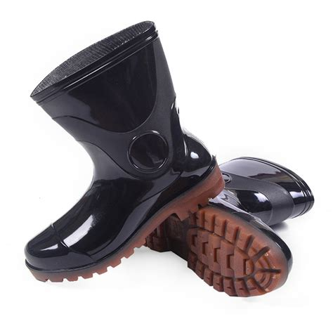 solid black color non slip on wellies fishing mens rubber