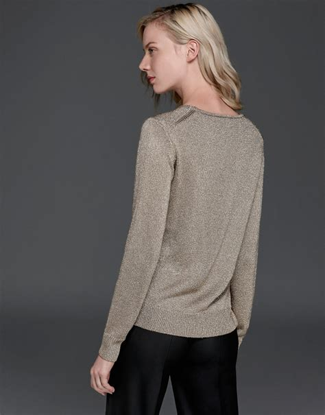gold knit sweater metalized gold knit sweater aw2017 roberto verino