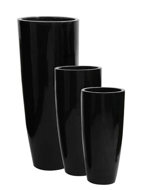 tall flower pots tall round fibreglass planter gel coat black large plant