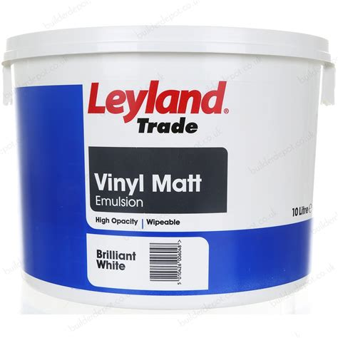 leyland trade vinyl matt emulsion interior paint 10l brilliant white