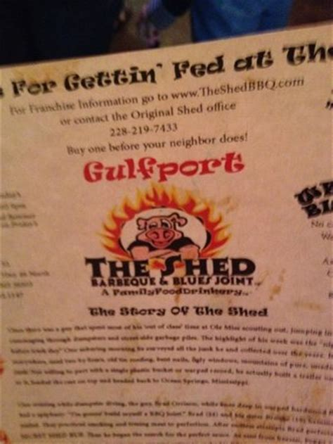 Shed Menu by Menu Picture Of The Shed Gulfport Tripadvisor