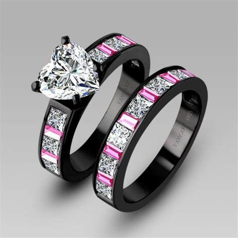 Black Wedding Rings by White Cubic Zirconia Black Engagement Ring Wedding
