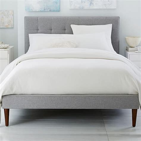 west elm queen headboard grid tufted upholstered tapered leg bed west elm