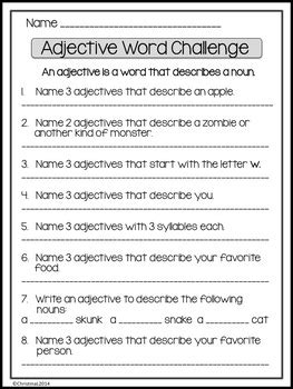 like word challenge adjective word challenge by a classroom for all seasons tpt