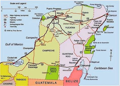 yucatan peninsula map map mexico yucatan