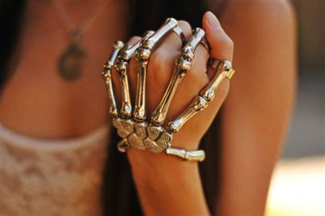 Jewels: hand, jewelry, amazing, bracelette, skeleton, hipster, cute, gold, hands, skull silver