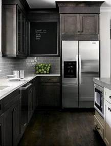 i love dark black brown cabinets amp stainless steel