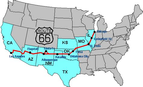 usa map route 66