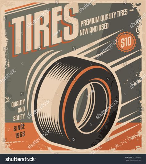 Car Tires Retro Poster Design Creative Stock Vector 202291210 Shutterstock Free Tire Shop Website Template
