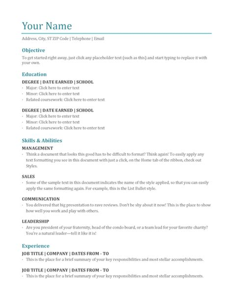 Resume Template Word For Students student resume modern design office templates