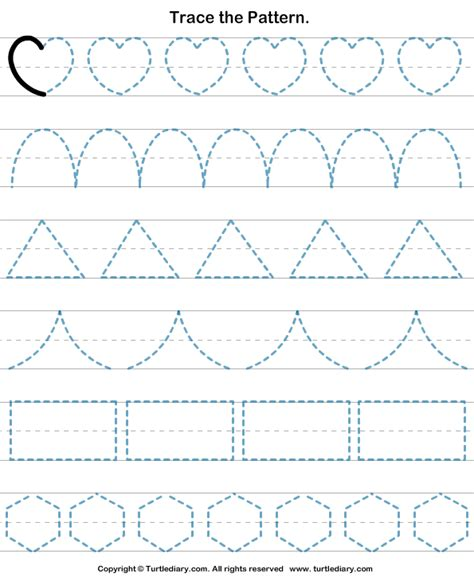 Pattern Drawing For Kindergarten | shapes tracing worksheet turtle diary