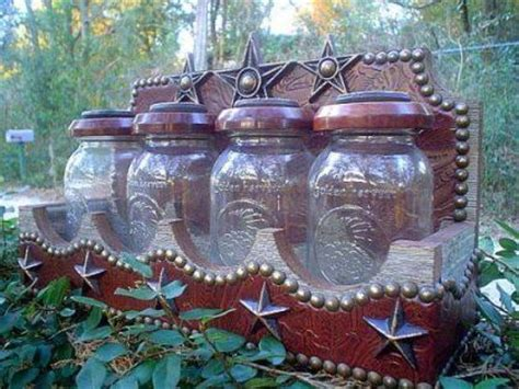 tooled leather jar canister set western decor by