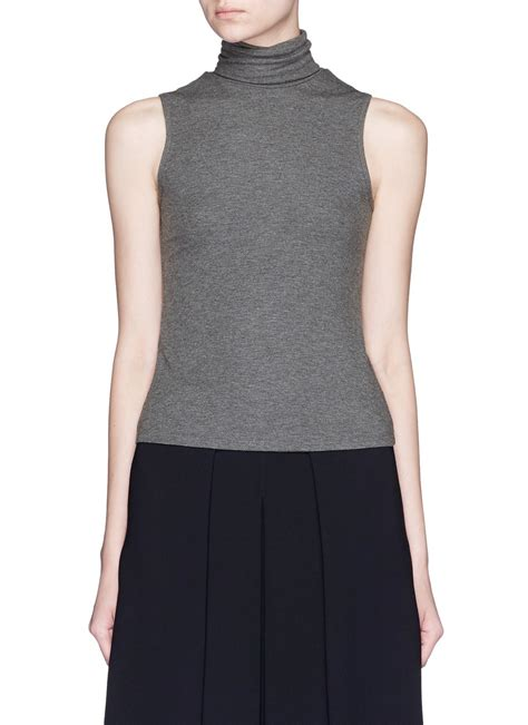 Gray Turtle Neck Top Z006 lyst theory wendel turtleneck sleeveless knit top in gray