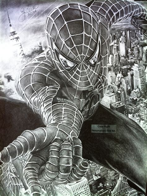 Drawn spider man realistic   Pencil and in color drawn