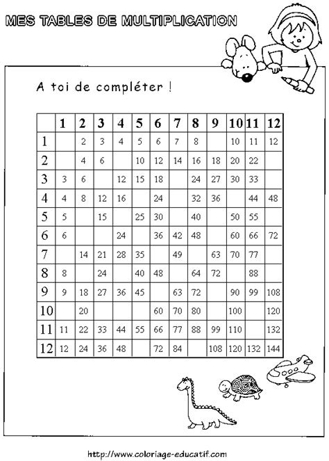 coloriage tables de multiplication exercices et coloriages