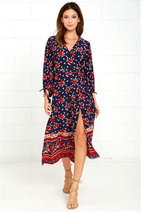 Branded Wrap Blue Dress faithfull the brand atlas dress navy blue floral print dress wrap dress