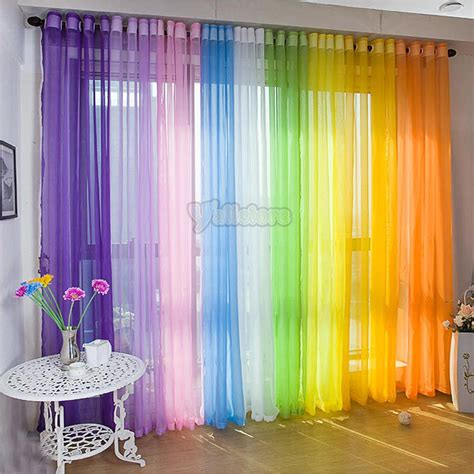 colorful sheer curtains upick colors two pack 37 quot x 84 quot voile panels with 6