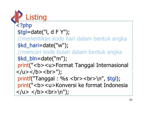 tutorial website php indonesia format tanggal php web ii php 03