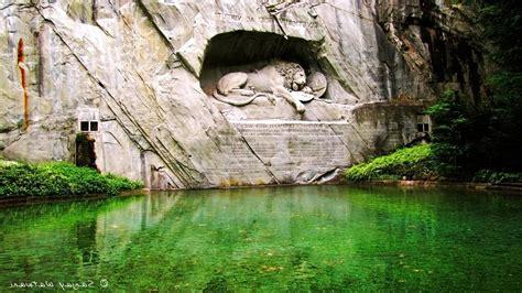 sculpture pond latin statue lion lion  lucerne