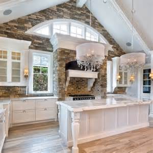 shingle style white kitchen with cathedral ceiling arched