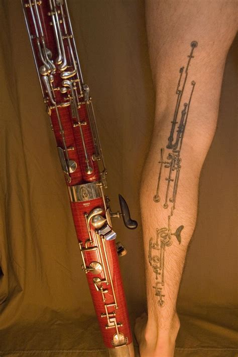 clarinet tattoo bassoon leg geeky tattoos