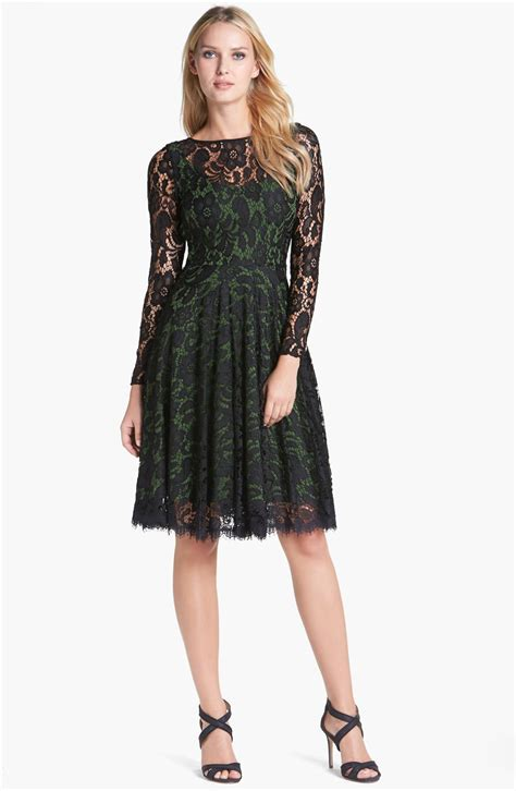 isaac mizrahi new york lace fit flare dress in black