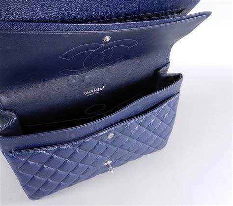 Chanel O Navy Blue Caviar Shw Series 21 Fullset Large Size chanel navy blue caviar maxi flap bag silver hardware at 1stdibs